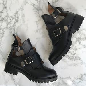 Zara Black Leather Cut Out Buckle Boots Lug Sole